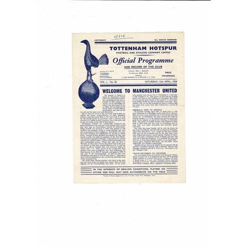 1957/58 Tottenham Hotspur v Manchester United Football Programme