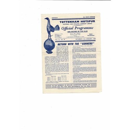 1958/59 Tottenham Hotspur v Arsenal Football Programme
