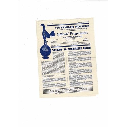 1958/59 Tottenham Hotspur v Manchester United Football Programme