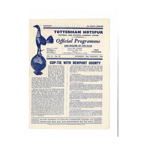 1958/59 Tottenham Hotspur v Newport County FA Cup Football Programme