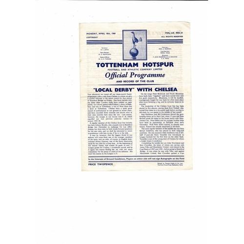 1959/60 Tottenham Hotspur v Chelsea Football Programme