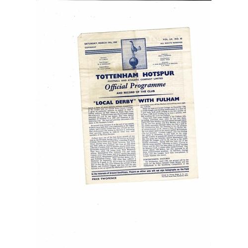 1959/60 Tottenham Hotspur v Fulham Football Programme