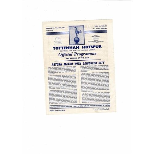 1959/60 Tottenham Hotspur v Leicester City Football Programme