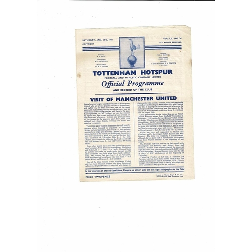 1959/60 Tottenham Hotspur v Manchester United Football Programme
