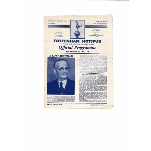1959/60 Tottenham Hotspur v Nottingham Forest Football Programme