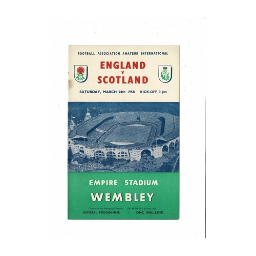 1956 England v Scotland Amateur International Football Programme