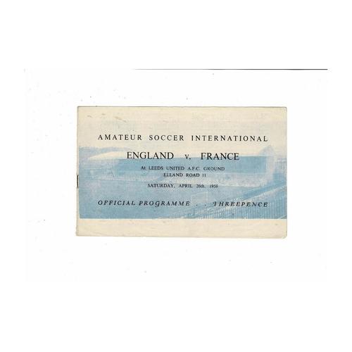 1958 England v France Amateur International Football Programme