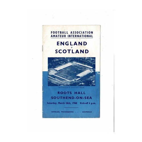 1960 England v Scotland Amateur International Football Programme