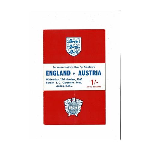 1966 England v Austria Amateur International Football Programme