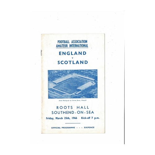 1966 England v Scotland Amateur International Football Programme