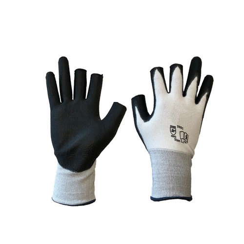 Three Digit Grey Liner Glove with Black Polyurethane Coating to the Palm and Fingertip - Conforms to EN388 (4542C)