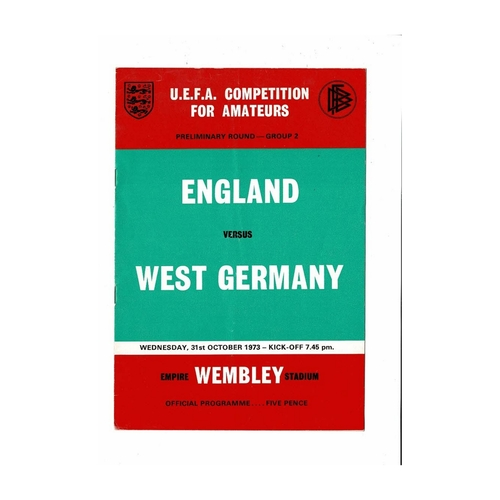 1973 England v West Germany Amateur International Football Programme