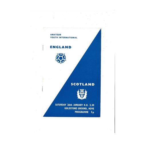 1974 England v Scotland Amateur Youth International Football Programme