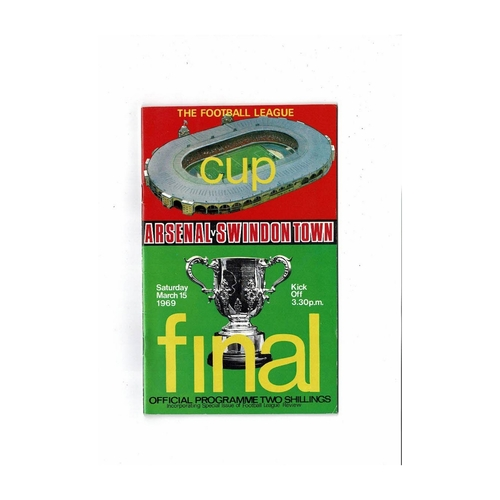 1969 Arsenal v Swindon Town League Cup Final Football Programme + League Review