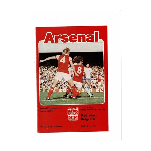 Arsenal v Red Star Belgrade UEFA Cup Football Programme 1978/79