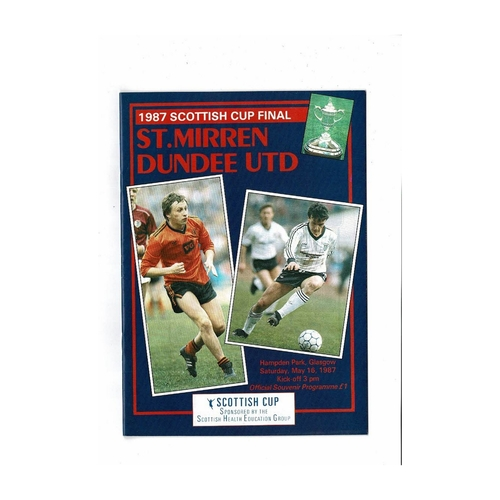 1987 St Mirren v Dundee United Scottish Cup Final Football Programme