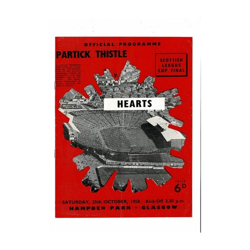 1958 Partick Thistle v Hearts Scottish League Cup Final Football Programme