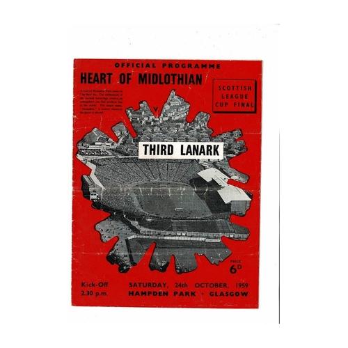 1959 Hearts v Third Lanark Scottish League Cup Final Football Programme