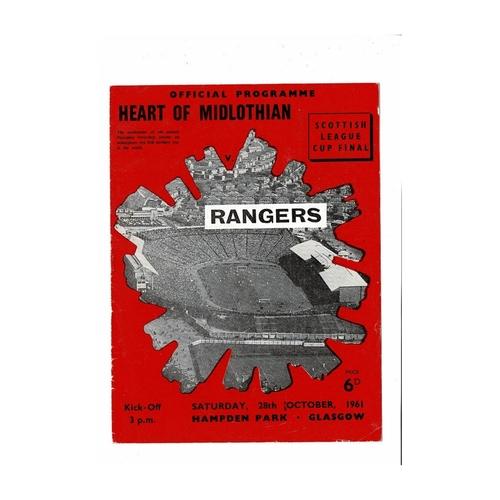 1961 Hearts v Rangers Scottish League Cup Final Football Programme