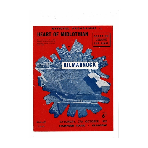 1962 Hearts v Kilmarnock Scottish League Cup Final Football Programme