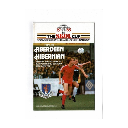 1985 Aberdeen v Hibernian Scottish League Cup Final Football Programme