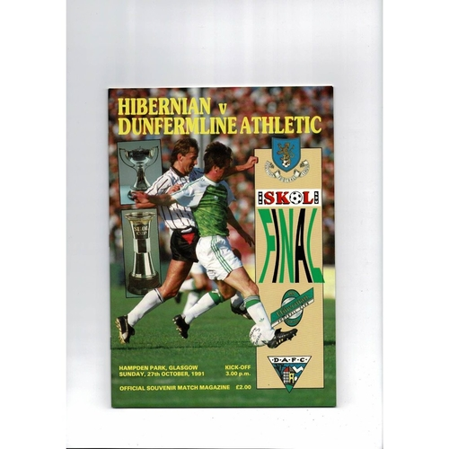 1991 Hibernian v Dunfermline Athletic Scottish League Cup Finals Football Programme