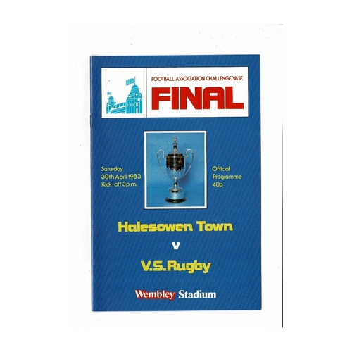 1983 Halesowen Town v VS Rugby FA Vase Final Football Programme