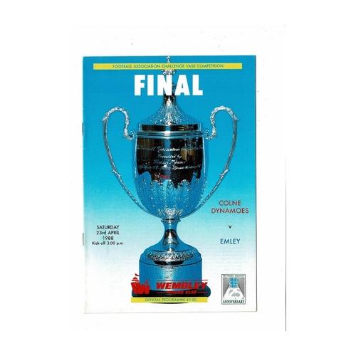 1988 Colne Dynamoes v Emley FA Vase Final Football Programme
