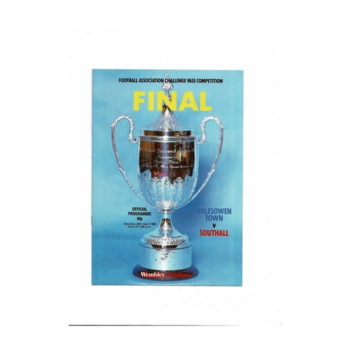 1986 Halesowen Town v Southall FA Vase Final Football Programme