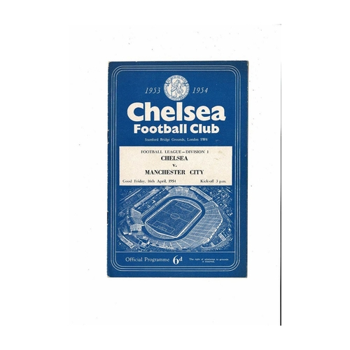 1953/54 Chelsea v Manchester City Football Programme Autographed
