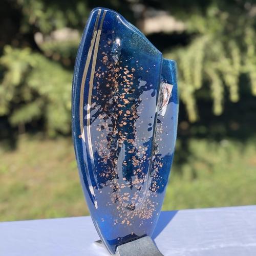 Blue & Platinum Oval Vase