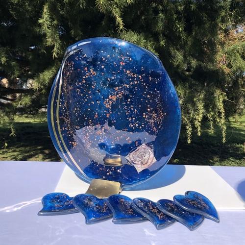 Blue & Platinum Round Vase