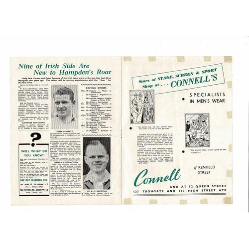 1950 Scotland v Northern Ireland Football Programme Autographed
