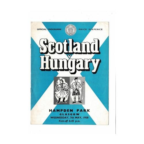 1958 Scotland v Hungary Football Programme