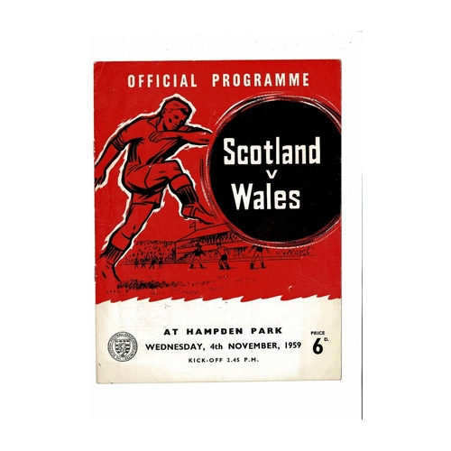 1959 Scotland v Wales Football Programme