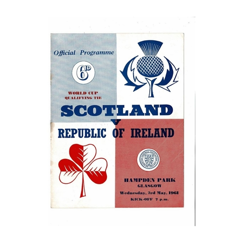 1961 Scotland v Republic of Ireland Football Programme