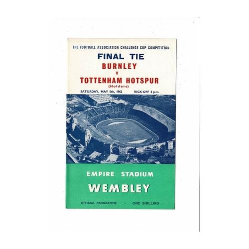 1962 Burnley v Tottenham Hotspur FA Cup Final Football Programme