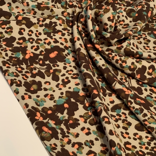 Leopard Flowers Green Stretch Crepe