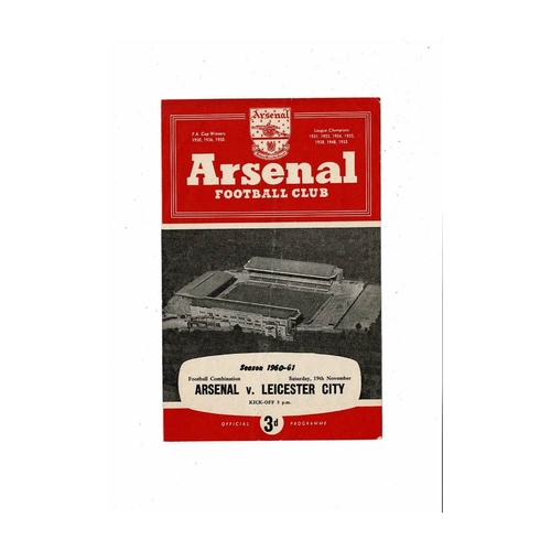 Arsenal v Leicester City Football Combination Programme 1960/61