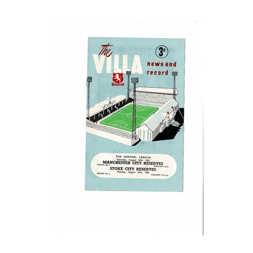Aston Villa v Manchester City & Stoke City Central League Programme 1962/63
