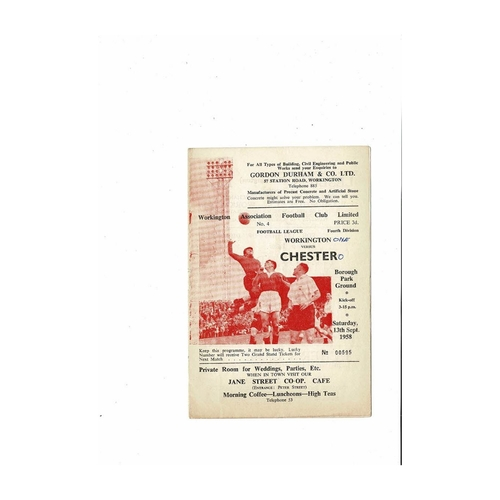 1958/59 Workington v Chester City Football Programme