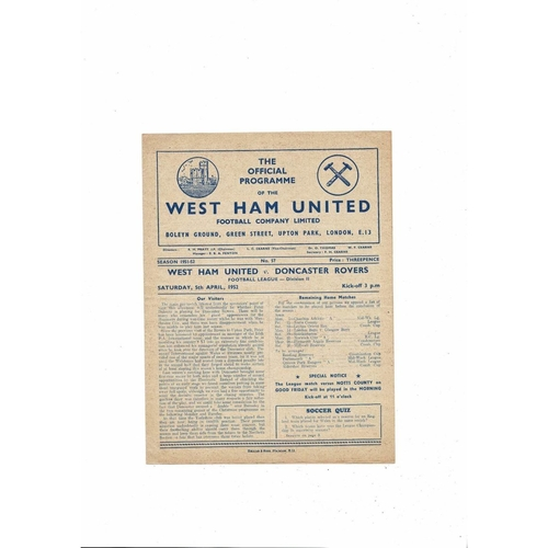 1951/52 West Ham United v Doncaster Rovers Football Programme