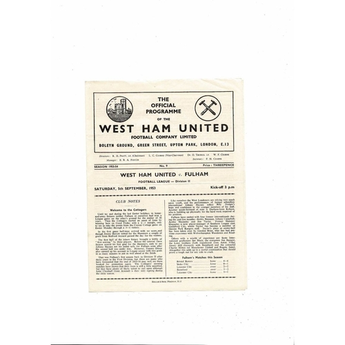 1953/54 West Ham United v Fulham Football Programme