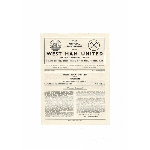1955/56 West Ham United v Fulham Football Programme