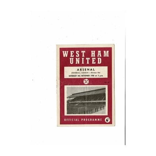 1958/59 West Ham United v Arsenal Football Programme
