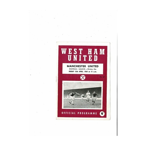 1959/60 West Ham United v Manchester United Football Programme