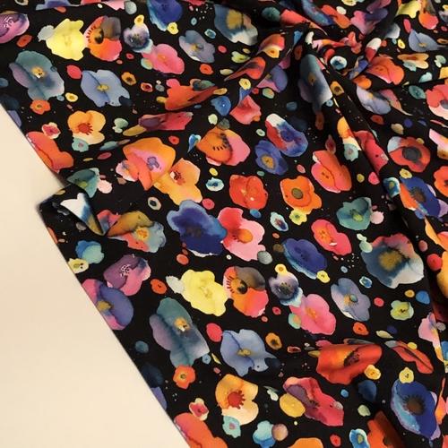 Watercolour Flora Black Jersey 1.71m Remnant