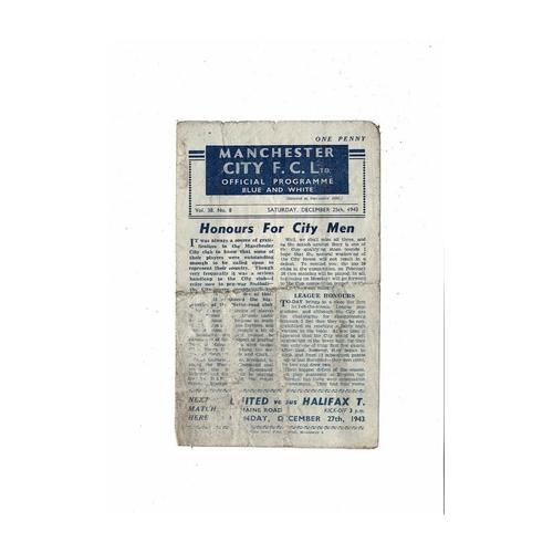 1943/44 Manchester City v Everton Football Programme