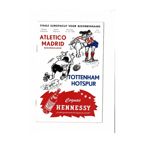 1963 Athletico Madrid v Tottenham Hotspur European Cup Winners Cup Final Programme
