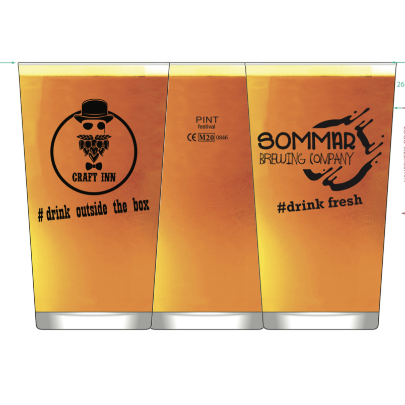 20 oz Pint branded glass